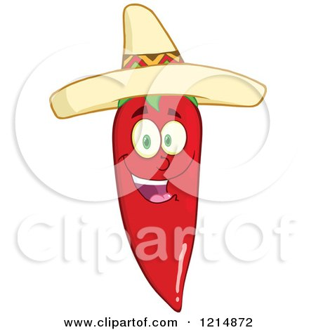 Cartoon of a Hispanic Red Hot Chili Pepper Character Wearing a Sombrero - Royalty Free Vector Clipart by Hit Toon