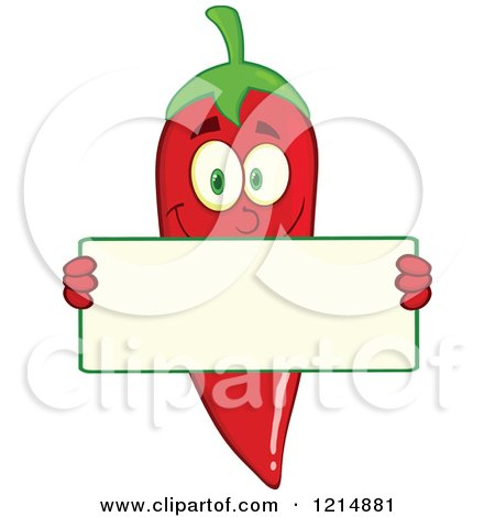 Cartoon of a Red Hot Chili Pepper Character Holding a Sign - Royalty Free Vector Clipart by Hit Toon