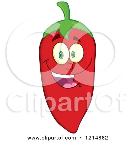 Cartoon of a Red Hot Chili Pepper Character Smiling - Royalty Free Vector Clipart by Hit Toon