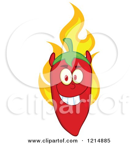 Cartoon of a Red Hot Devil Chili Pepper Character on Fire - Royalty Free Vector Clipart by Hit Toon
