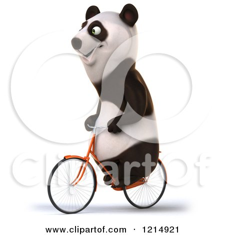 Clipart of a Happy Panda Bear Riding a Bicycle 4 - Royalty Free Illustration by Julos