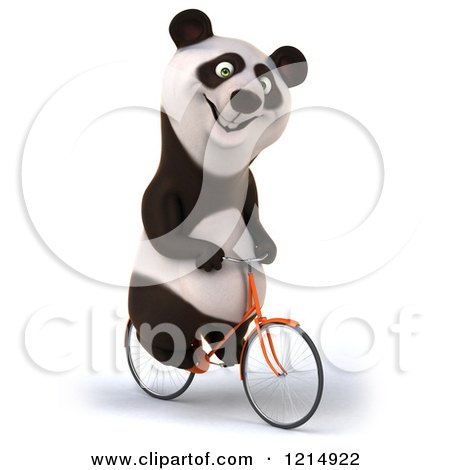 Clipart of a Happy Panda Bear Riding a Bicycle 5 - Royalty Free Illustration by Julos