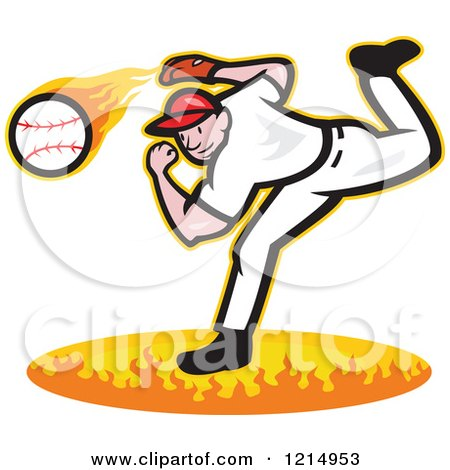 Clipart of a Baseball Player Athlete Pitching a Fast Ball over Flames - Royalty Free Vector Illustration by patrimonio