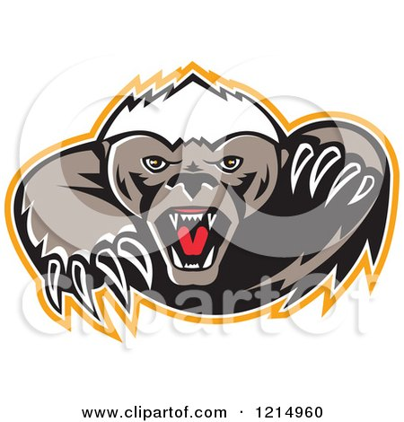 Clipart of a Vicious Honey Badger Mascot with Sharp Claws - Royalty Free Vector Illustration by patrimonio