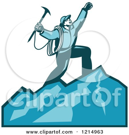 Clipart of a Mountain Climber Cheering on Top of a Mountain - Royalty Free Vector Illustration by patrimonio