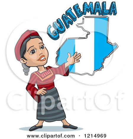 Woman Presenting A Guatemalan Flag Map And Text Posters