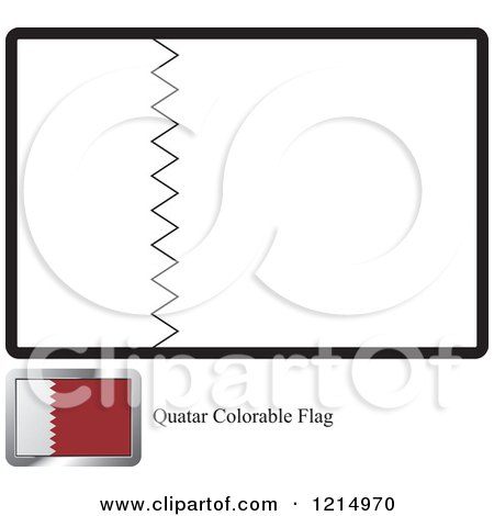 Clipart of a Coloring Page and Sample for a Quatar Flag - Royalty Free Vector Illustration by Lal Perera