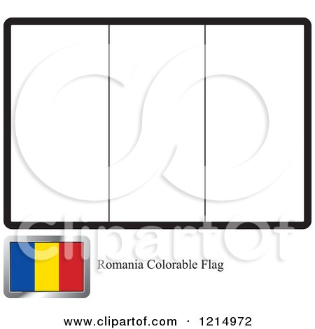 Clipart of a Coloring Page and Sample for a Romania Flag - Royalty Free Vector Illustration by Lal Perera
