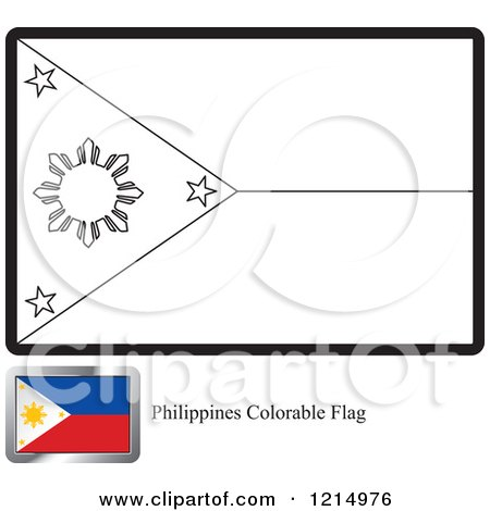 Clipart Of A Coloring Page And Sample For Philippines Flag