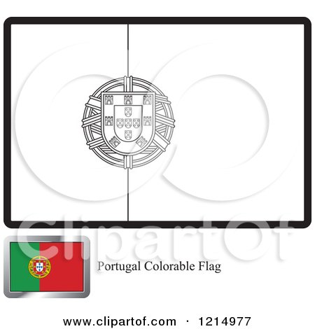 Clipart Of A Coloring Page And Sample For Portugal Flag