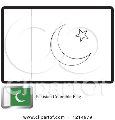 clipart of a coloring page and sample for a pakistan flag royalty free vector illustration by lal perera
