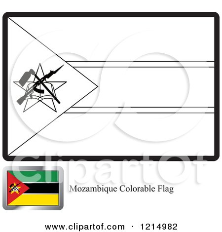 Royalty Free RF Flag Coloring Page Clipart