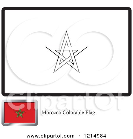 Clipart of a coloring page and sample for a morocco flag for Flag of morocco coloring page