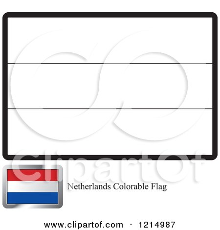 Coloring Page And Sample For A Netherlands Flag