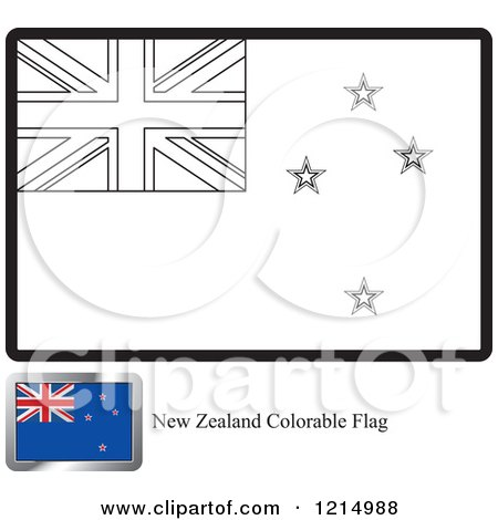 Clipart Of A Coloring Page And Sample For New Zealand Flag