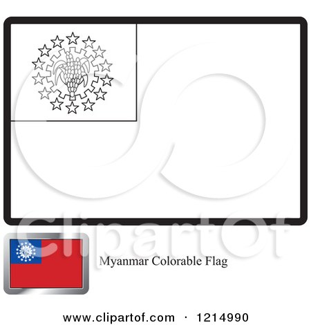 Clipart of a Coloring Page and Sample for a Myanmar Flag - Royalty Free Vector Illustration by Lal Perera