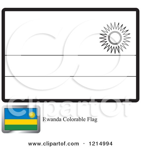 Clipart Of A Coloring Page And Sample For A Rwanda Flag