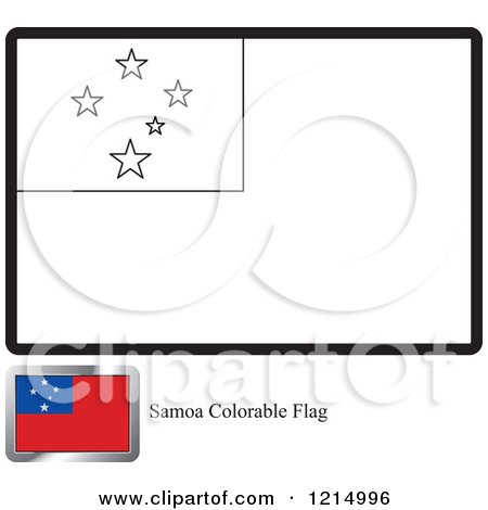 coloring page and sample for a samoa flag