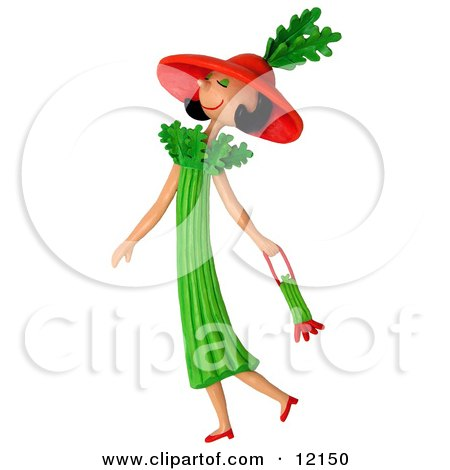 Clay Sculpture Clipart Celery Woman Walking With A Purse - Royalty Free 3d Illustration  by Amy Vangsgard
