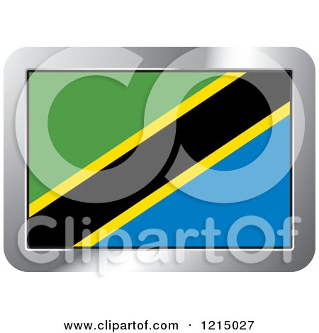 Clipart of a Tanzania Flag and Silver Frame Icon - Royalty Free Vector Illustration by Lal Perera