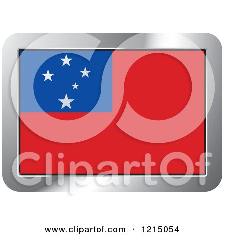 Clipart of a Samoa Flag and Silver Frame Icon - Royalty Free Vector Illustration by Lal Perera