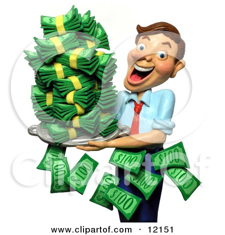 Clay Sculpture Clipart Successful Businessman Holding A Tray Of Cash Money - Royalty Free 3d Illustration  by Amy Vangsgard