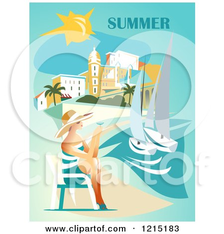 Clipart of a Lady Holding Wine and Sitting on a Beach Under Summer Text - Royalty Free Vector Illustration by Eugene