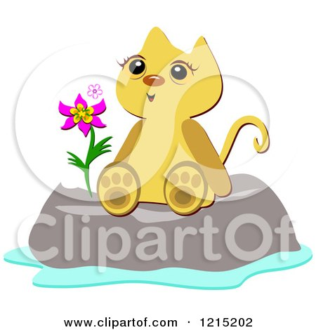 Clipart of a Happy Cat Sitting on a Boulder with a Flower - Royalty Free Vector Illustration by bpearth