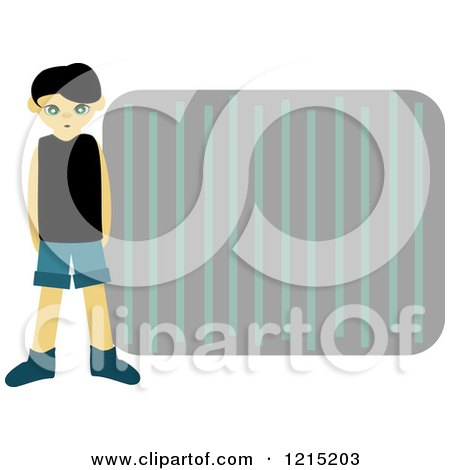 Boy Standing By A Frame Of Stripes