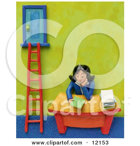 3d Businesswoman Sitting At Her Desk By A Corporate Ladder Posters, Art Prints