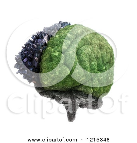 Clipart of a 3d City and Nature Brain Split by Cerebral Hemispheres, over White - Royalty Free Illustration by Mopic