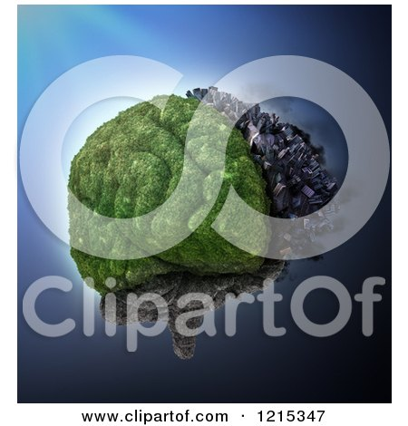 Clipart of a 3d City and Nature Brain Split by Cerebral Hemispheres - Royalty Free Illustration by Mopic