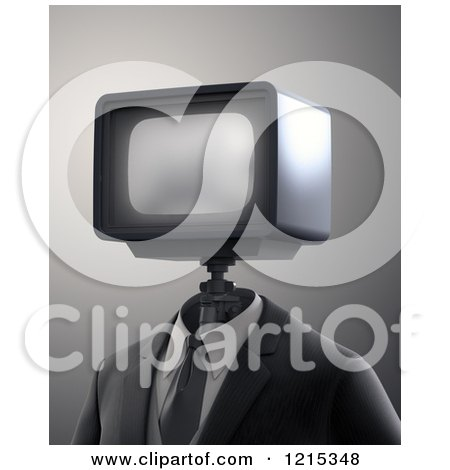 Clipart of a 3d Robot with a Tv Head - Royalty Free Illustration by Mopic