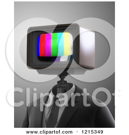 Clipart of a 3d Robot with a Broadcast Test Tv Head - Royalty Free Illustration by Mopic