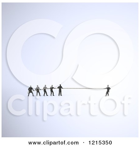 Clipart of a 3d Tiny Man Engaged in Tug of War Against a Group - Royalty Free Illustration by Mopic