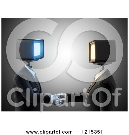 Clipart of 3d Businessmen with Monitor Heads, Shaking Hands - Royalty Free Illustration by Mopic