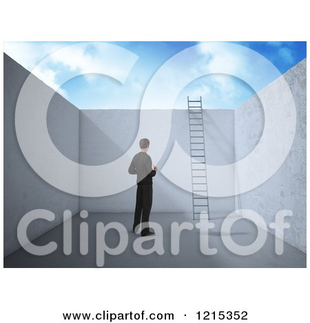 Clipart of a 3d Businessman in an Empty Room with a Ladder Leading to Opportunity - Royalty Free Illustration by Mopic