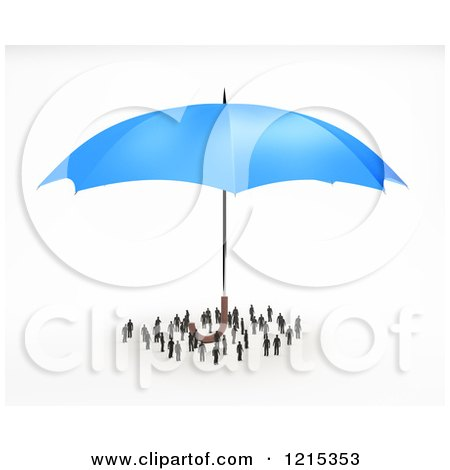 Clipart of a 3d Blue Umbrella Sheltering a Group of Tiny People - Royalty Free Illustration by Mopic