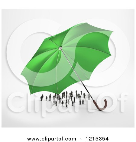 Clipart of a 3d Green Umbrella Sheltering a Group of Tiny People - Royalty Free Illustration by Mopic