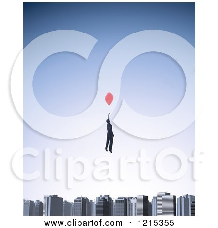 Clipart of a 3d Businessman Floating with a Balloon over a City Skyline - Royalty Free Illustration by Mopic
