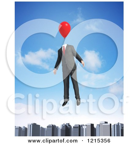 Clipart of a 3d Businessman Floating with a Balloon Head over a City - Royalty Free Illustration by Mopic