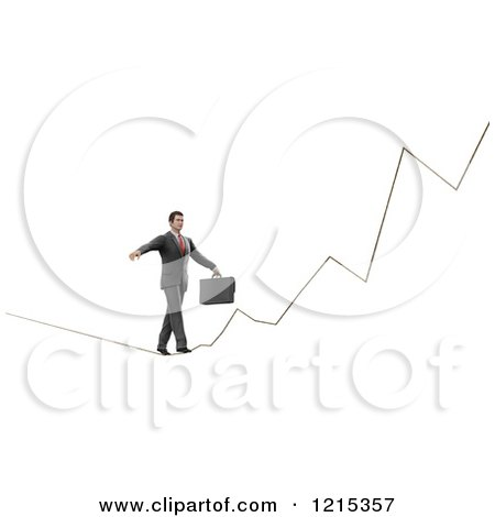 Clipart of a 3d Businessman Walking a Graph Tight Rope, on White - Royalty Free Illustration by Mopic