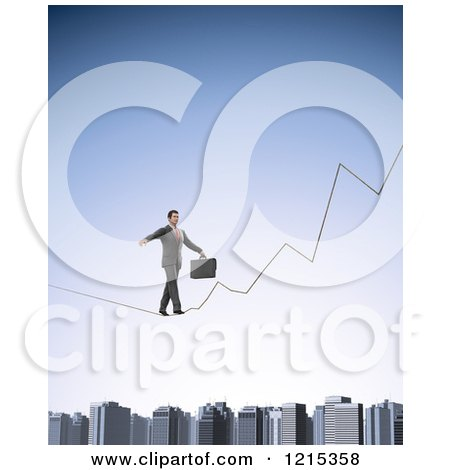 Clipart of a 3d Businessman Walking a Graph Tight Rope over a City - Royalty Free Illustration by Mopic