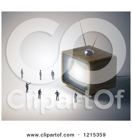 Clipart of a 3d Box Television and Tiny People - Royalty Free Illustration by Mopic