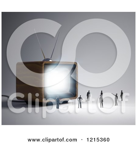 Clipart of a 3d Box Television Shining Light on Tiny People - Royalty Free Illustration by Mopic
