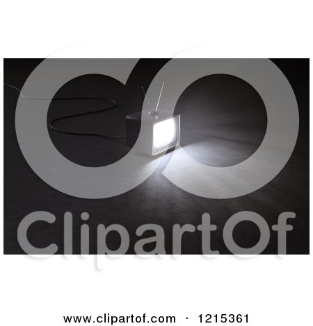 Clipart of a 3d Box Television Shining in the Darkness - Royalty Free Illustration by Mopic