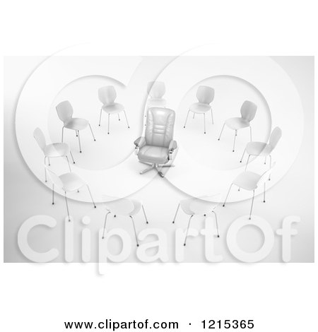 Clipart of a 3d Red Leather Chair in a Circle of Chairs - Royalty Free Illustration by Mopic