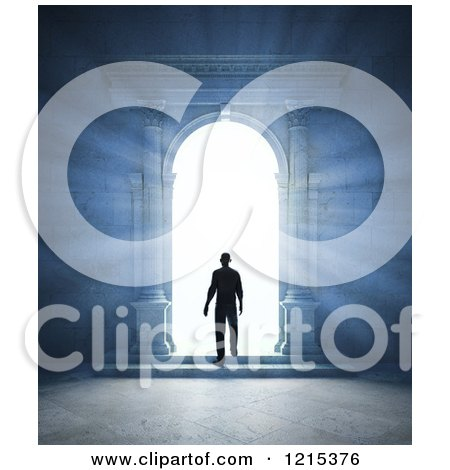 Clipart of a 3d Bright Light Silhouetting a Man Through an Archway Portal - Royalty Free Illustration by Mopic