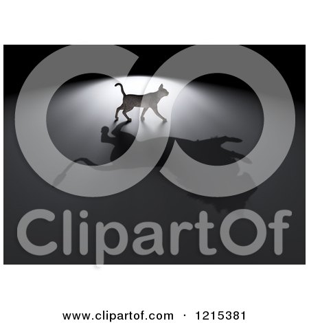 Clipart of a 3d Cat with a Lion Shadow - Royalty Free Illustration by Mopic