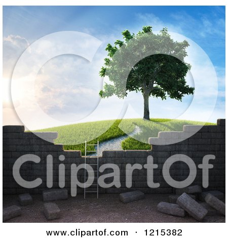 Clipart of a 3d Ladder Against a Brick Wall with a View of a Tree on a Hill - Royalty Free Illustration by Mopic